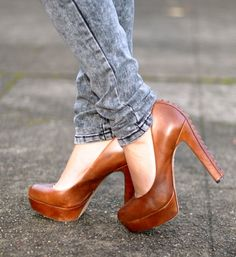 Look at the detail on that heel! I want these!- cognac goes with everything.