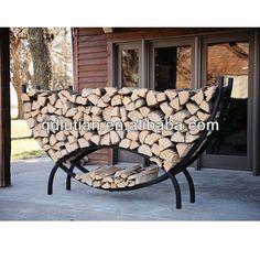 Crescent-Shaped Metal Outdoor Firewood Log Rack with Kindling Holder $8~$10