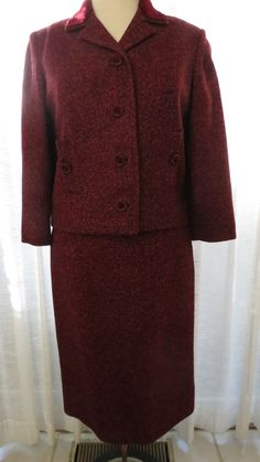 Now I'll start showing you my best true vintage winter outfits, to go along with the beautiful lingerie.  This suit from the 1950's or early '60's is very tailored in it's lines. Nicely made, for a...