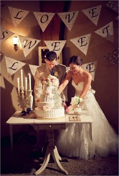 Wedding Cake Table - Love is Sweet Banner