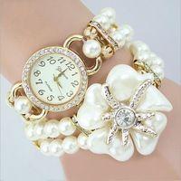 Envío Gratis Las Mujeres de Lujo de La Perla Pulsera Relojes de Señora de La Flor Casual Relojes Del Cuarzo Relogio Feminino reloj mujer LZ101
