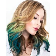 Green and teal blue ombre faded dip dyed hair idea