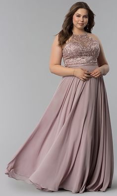 Shop plus-size embroidered-bodice long prom dresses at PromGirl. Floor-length chiffon formal evening dresses in plus sizes with high necklines, embroidered mesh, and rhinestones. Plus Prom Dresses, Prom Dresses Under 200, Bridesmaid Dresses Plus Size, Plus Size Formal Dresses, Chiffon Evening Dresses, Designer Prom Dresses, Formal Evening Dresses, Plus Size Evening Gown, Frack