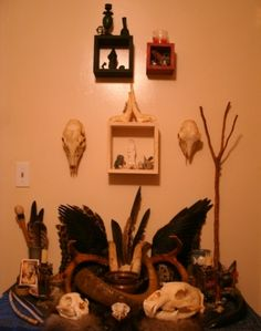 Altars:  Pagan Altar with Mini Floating Altars hanging above it.