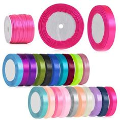Hot 3/6/10/15/20/25/38/55mm Party Wedding Satin Ribbon Craft 25/50 Yards Roll #Unbranded