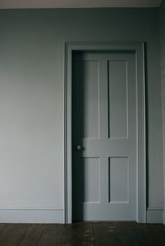 One of our doors in the Mill House that leads to another display, created to inspire your own beautiful designs for your kitchen and the rest of your home Painted Doors, Wood Doors, Interior Paint, Interior Decorating, Small Sitting Rooms, Blue Gray Paint, Dark Grey Walls, Architrave, House Doors