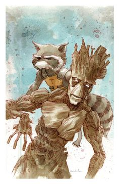 GROOT and rocket raccoon  art print 11x17 BRETT by brettweldele