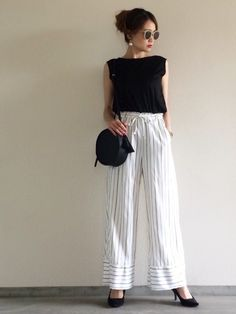 Yukie♡i|journal standard L'essageのTシャツ/カットソーを使ったコーディネート - WEAR Casual Wear, Casual Outfits, Stylish Office, Office Looks, Clothes For Women, Womens Fashion, Pants, How To Wear, Fashion Design