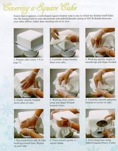 Covering a Square Cake in fondant, handy guide Cake Decorating Techniques, Cake Decorating Tutorials, Cookie Decorating, Decorating Cakes, Fondant Tips, Fondant Icing, Fondant Recipes, Cake Recipes, Pastel Rectangular
