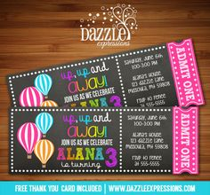 Chalkboard Hot Air Balloon Ticket Birthday Invitation | Spring or Summer | Up, Up and Away | Baby Shower | Digital File | Girl Birthday Party Idea | FREE thank you card | Party Package Available | Banner | Cupcake Toppers | Favor Tag | Food and Drink Labels | Signs | Candy Bar Wrapper | www.dazzleexpressions.com