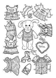 Karen`s Paper Dolls: Ulla Paper Doll to Colour. Ulla påklædningsdukke til at farvelægge.