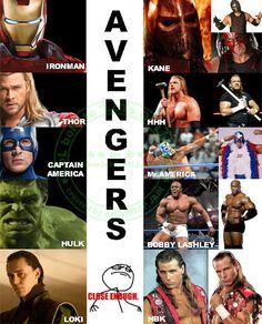 Avengers vs WWE.. Instead of Shawn it should be CM Punk