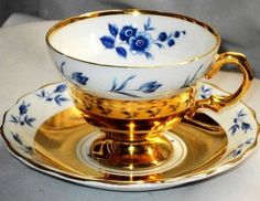 Rosina SNAZZY Corsage GOLD Tea cup and saucer