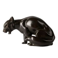 Art Deco Bronze Sculpture of a Cat by Gra Rueb | From a unique collection of antique and modern animal sculptures at http://www.1stdibs.com/furniture/more-furniture-collectibles/animal-sculptures/