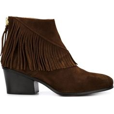 Buttero fringe ankle boots (1,081 CAD) ❤ liked on Polyvore featuring shoes, boots, ankle booties, brown, fringe bootie, brown boots, brown fringe boots, brown leather bootie i brown leather ankle booties