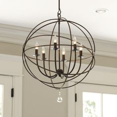 orb chandelier. Use two hanging planters wired together (remove baskets) over existing chandelier fixture.