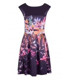 Closet Portobello Purple Multi Floral V-Back Tie Dress - Dresses - Clothing