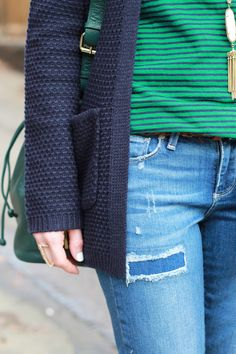 Poor Little It Girl - Navy Cardigan and Green Stripes