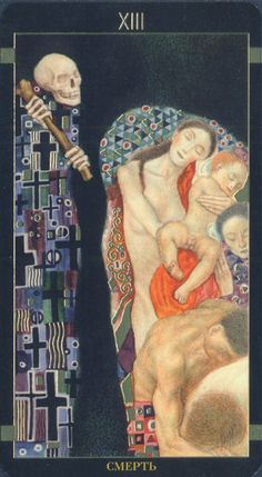 Golden Tarot de Klimt. This is one of the scariest #Death #tarot cards I have ever seen.