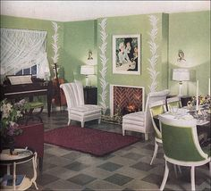 1936 key lime living room in 2019 the vintage home/vintage d 1930s Living Room, Retro Living Rooms, Living Vintage, Home Living Room, Living Room Decor, Dining Room, 1930s Home Decor, 1930s House Interior, Retro Home Decor