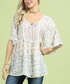 e682ba6af5f4d Love this Cream Floral Scoop Neck Tunic - Women  amp  Plus on  zulily!