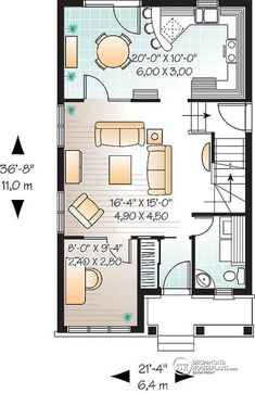 1st level Narrow lot house plan with 3 bedrooms and home office, laundry on first floor - Edward