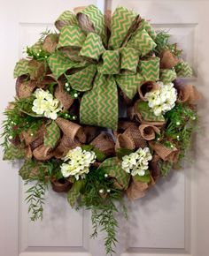 Green Burlap Wreath by WilliamsFloral on Etsy