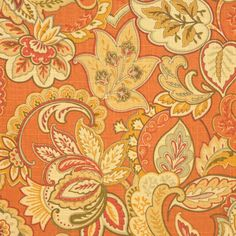 Singapore Sienna Fabric - $33.95 » Orange can be sophisticated and elegant. A pair of club chairs upholstered in this Jacobean floral paired with dusty blues and mustard yellows would make for a gorgeous space.
