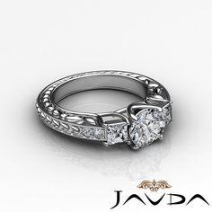 Round Cut Diamond 3 Stone Vintage Engagement Ring EGL E VS1 14k White Gold 1 4ct | eBay