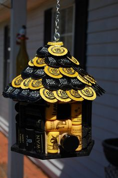 Black and Yellow Wine Cork and Beer Cap Bird House by TikiCommander on Etsy