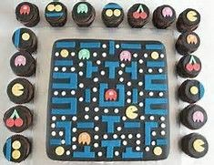 Pac Man Cake and Cup Cakes, party idea from Top Ten Videogame Cakes Pac Man Party, 80s Party, Game Party, Disco Party, Video Game Cakes, Cake Videos, Video Games, Pac Man Cake, Happy 35th Birthday