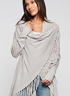Carys Spring Grey Fringe Sweater   Fig Tree Jewelry & Accessories