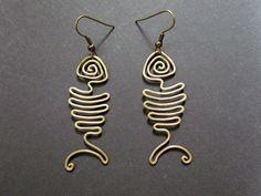 Wire fish earrings