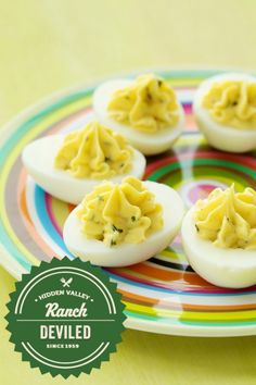 Looking for the perfect Easter brunch menu? This delicious deviled egg recipe will be sure to please a crowd. Add a little ranch seasoning and taste the difference! Appetizers For Party, Appetizer Recipes, Snack Recipes, Cooking Recipes, Snacks, Party Dips, Egg Recipes, Great Recipes, Favorite Recipes