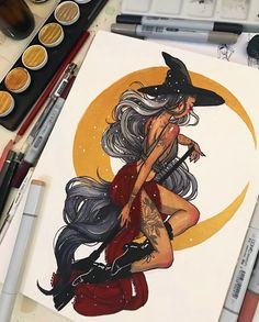 inktober day moon witch🌙Tonight is a full moon so I wanted to draw a moon witch!Materials: Dr PH martins Black Star India ink, copic markers, finetec gold watercolor, Pentel aquash pens, and uniball signo white pen. Witch Drawing, Painting & Drawing, Art Sketches, Art Drawings, Character Art, Character Design, Moon Witch, Arte Sketchbook, Gold Watercolor