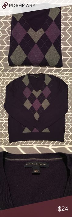 • BANANA REPUBLIC • men's wool sweater Banana Republic 100% merino wool sweater. Worn once. Excellent condition! Men's! Classy purple argyle. Banana Republic Sweaters V-Neck