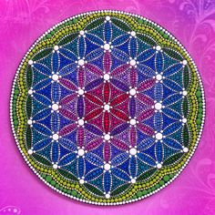 Flower of Life by Elspeth McLean Mandala Painting, Dot Painting, Stone Painting, Elspeth Mclean, Psychadelic Art, Painting Templates, Kolam Designs, Mandala Dots, Flower Of Life