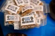"""Protein Bars"" aka Granola Bars for Work Out Themed First Birthday Party."