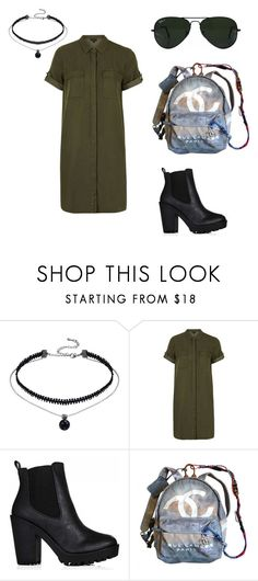 """""""Untitled #34"""" by shandyow ❤ liked on Polyvore featuring Topshop, Chanel, Ray-Ban and shirtdress"""