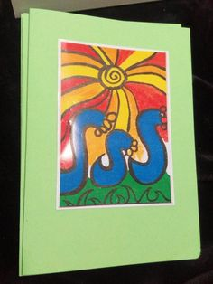 Sunshine canvas art print for kids, Blank card, blue waves, fun yellow and orange sun, Lime green gift card, original design print, AranaART by AranaARTnDESIGN on Etsy