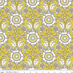 Parisian Scroll in Yellow from Riley Blake by ThreeDollsFabrics