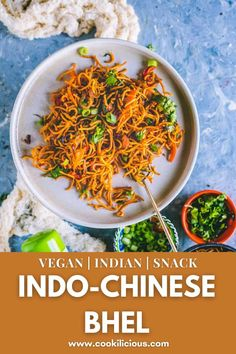 #ad Chinese Bhel is a delicious Indo-Chinese vegan snack made with crispy fried noodles. Make this easy Indian/Asian noodles salad in minutes and wow your guests! #chinese #bhel #IndoChinese #snack #vegan #crispy #noodles #yondu #umami #seasoning Crispy Noodles, Asian Noodles, Chinese Bhel, Vegan Snacks, Plant Based Recipes, Low Carb, Vegetarian, Lunch