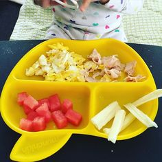 Breakfast today was one egg scrambled in coconut oil, a slice of natural apple smoked turkey, diced watermelon and half of an organic string cheese. She ate almost all her egg, half her turkey, one piece of string cheese and no watermelon. She is the only child I know who doesn't like watermelon! #pickyeater #16months #toddlerfood #whatifeedmykid