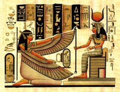 MAAT, GODDESS OF TRUTH & JUSTICE - represented as a young woman sitting or standing, holding a was scepter, the symbol of power, in one hand & an ankh, the symbol of eternal life, in the other. Sometimes she is depicted with wings on each arm or as a woman with an ostrich feather on her head. She was the ancient Egyptian concept of truth, balance, order, law, morality, & justice and regulated the stars  Her (ideological) counterpart was Isfet. Her consort in some accounts was Thoth