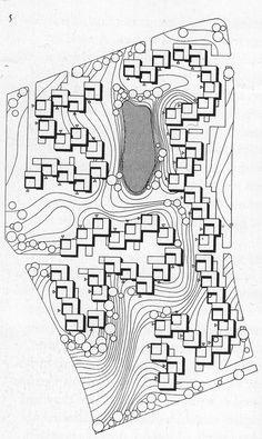 Jørn Utzon, Site plan of Kingo Houses, Near Elsinore, Denmark, 1956-60