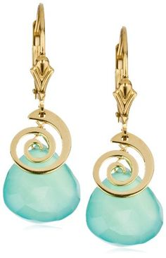 "Eva Hanusova ""Swirl"" Ocean Chalcedony 14k Gold Fill Earrings"