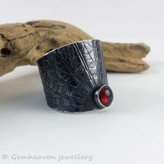 Sterling silver adjustable wide band, statement cuff ring with Garnet  / gemheaven