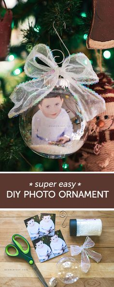 DIY Christmas Photo Ornament - a fun and easy way to preserve precious images! #DIY #Christmas #holiday #craft