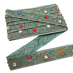 Sequins Ribbon Embroidered Trim Beaded by Indianbeautifulart