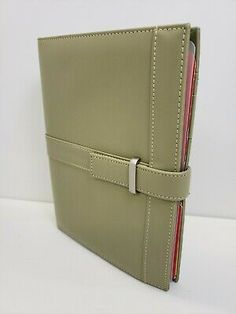 Day Runner Organizer Planner Refillable Olive Green Brushed Nickel Accent 8 x 10 Organizer Planner, Notebook Organization, Day Runner, Franklin Covey, Refillable Planner, Business Planner, Hole Punch, Brushed Nickel, Vintage Black